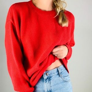American Eagle Red 100% Cotton Crewneck Sweater M